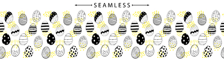 Vector horizontal seamless border with easter eggs doodles. Holiday background. Great for wallpaper, backgrounds, packaging, fabric, scrapbooking, and giftwrap projects Ilustração