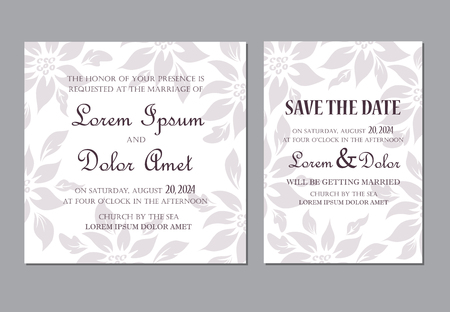 Wedding invitation card. Seamless floral background