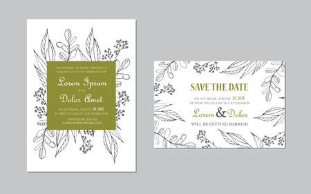 Wedding invitation card. Floral background