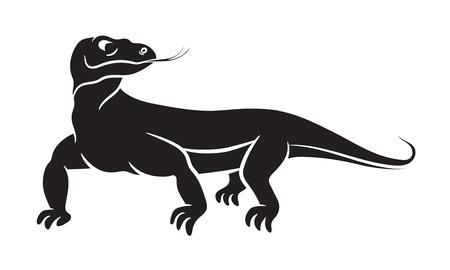 Varanus, Komodowaran schwarze Silhouette auf weißem Hintergrund. Vektorillustration Vektorgrafik