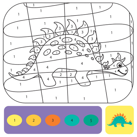 Cute dino coloring page for kids. Printable design coloring book. Coloring puzzle with numbers of color. Black and white draw with color example Ilustração Vetorial