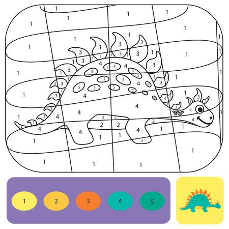 Simpatico dinosauro da colorare per bambini. Libro da colorare design stampabile. Puzzle da colorare con numeri di colore. Disegno in bianco e nero con esempio a colori Vettoriali