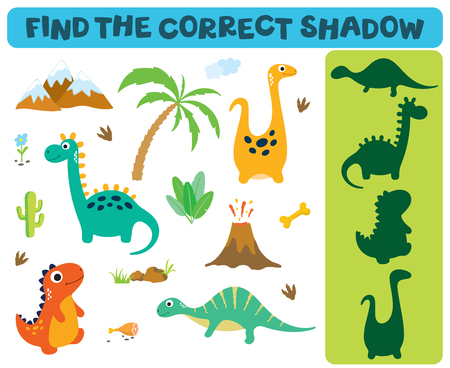 Find the correct shadow: Adorable dinosaurs isolated on white background. Dinosaur footprint, Volcano, Palm tree, Stones, Bone, Grass and Cactus