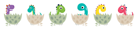 Cute cartoon dinosaurs collection. Vector illustration
