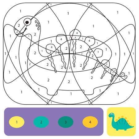 Cute dino coloring page for kids. Printable design coloring book. Coloring puzzle with numbers of color. Black and white draw with color example Vector Illustration