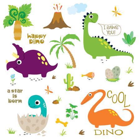 Cute dinosaurs set on white background