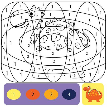 Süße Dino-Malvorlagen für Kinder. Druckbares Design-Malbuch. Farbpuzzle mit Zahlen von Farbe. Schwarz-Weiß-Zeichnung mit Farbbeispiel