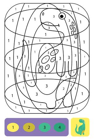Niedliche Dino-Malvorlagen für Kinder. Druckbares Design-Malbuch. Farbpuzzle mit Zahlen von Farbe. Schwarz-Weiß-Zeichnung mit Farbbeispiel