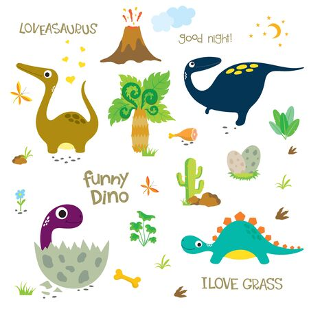Adorable dinosaurs isolated on white background. Dinosaur footprint, Volcano, Palm tree, Stones, Bone and Cactus