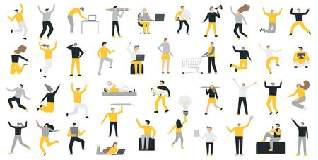 Set of business people flat icons. Flat style modern vector illustration