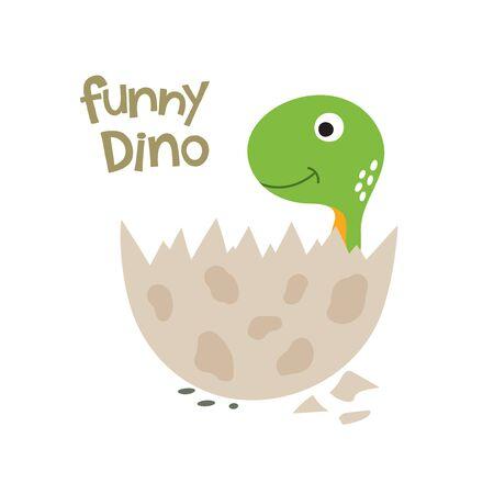 Cute cartoon dinosaur in egg. Vector illustration Stockfoto - 129187596