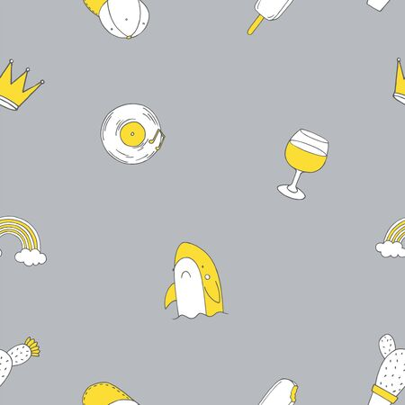 Seamless pattern with patch doodles. Vector illustration