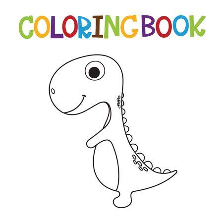 Cute cartoon dino coloring page. Vector illustration Stockfoto - 129187605