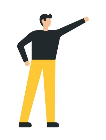 Business man with his raised hand. Flat style modern vector illustration