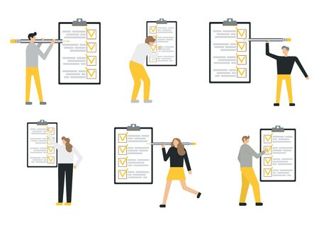 Set of vector flat illustrations of business people near the to do list. Flat style modern vector illustration