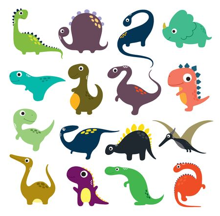 Funny cartoon dinosaurs collection. Vector illustration Illustration