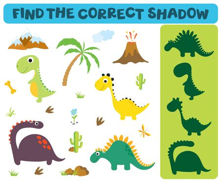 Find the correct shadow: Adorable dinosaurs isolated on white background. Dinosaur footprint, Volcano, Palm tree, Stones, Bone, Grass and Cactus 版權商用圖片 - 131602996
