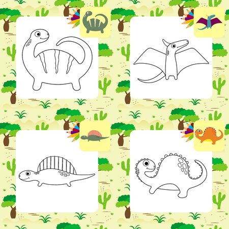 Funny cartoon dinosaurs collection. Coloring book. Vector illustration