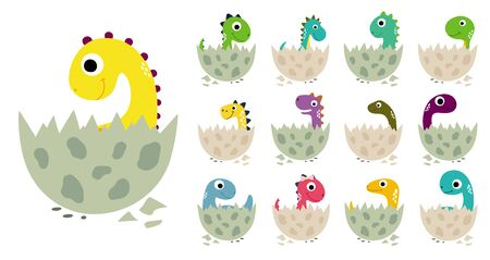 Cute cartoon dinosaurs in eggs collection. Vector illustration