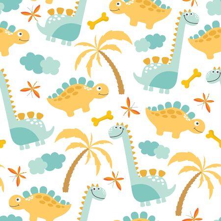 Cute Dinosaur Seamless Background. Vector Illustration