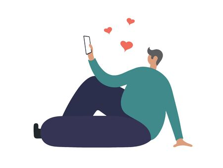 Boy in Love talking on Phone. Flat Vector Illustration