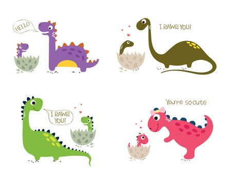 Happy Dinosaurs with Baby Dino Sitting in the Eggs. Vector illustration