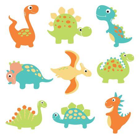 Cute vector dinosaurs isolated on white background Ilustração Vetorial