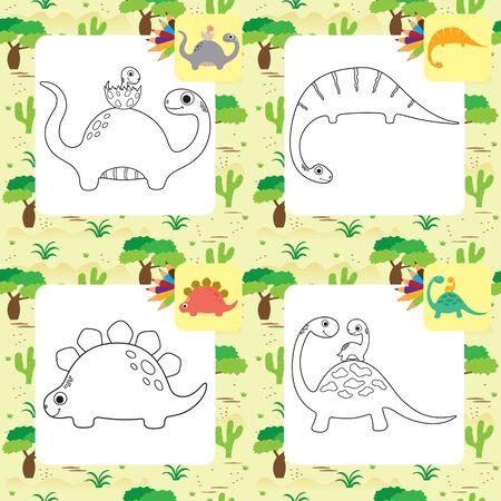 Cute cartoon dino coloring page set. Vector illustration