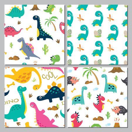 Set of Cute dinosaur seamless pattern. Vector illustration
