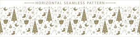 Christmas vector horizontal seamless border. Great for wallpaper, backgrounds, packaging, fabric, scrapbooking, and giftwrap projects