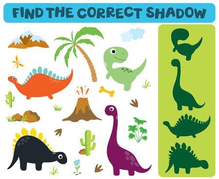 Find the correct shadow: Adorable dinosaurs isolated on white background. Dinosaur footprint, Volcano, Palm tree, Stones, Bone, Grass, Butterfly and Cactus Ilustração