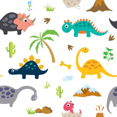 Cute dinosaur seamless pattern. Vector illustration