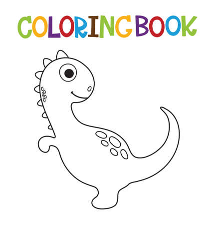 Cute cartoon dino coloring page. Vector illustration