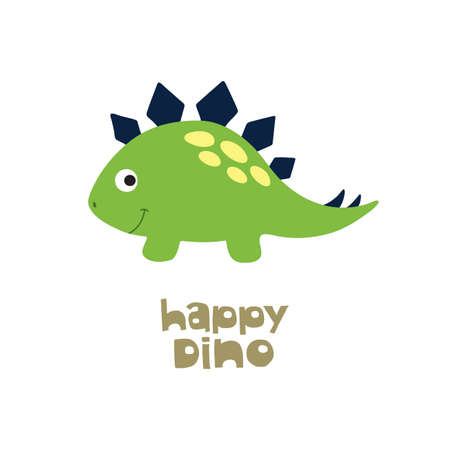 Happy Dino. Cute dinosaur. Vector illustration