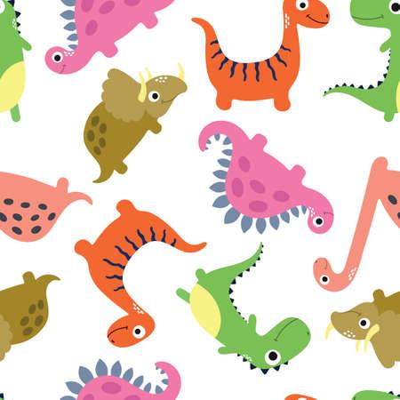 Cute dinosaur seamless pattern. Vector illustration