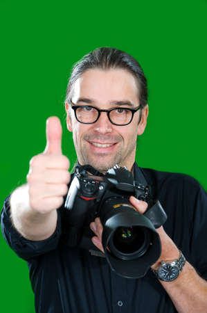 photographer with thumb up