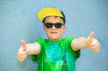 cool boy: cool boy with thumb up  Stock Photo