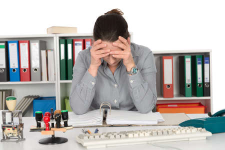 clerical: over-worked woman in the office