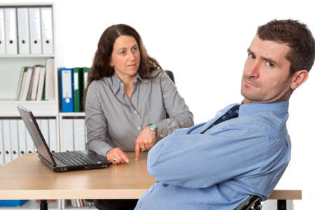 female boss is angry photo