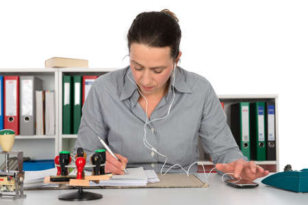 clerical: business woman at workplace Stock Photo