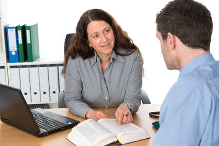 clerical: counseling interview Stock Photo
