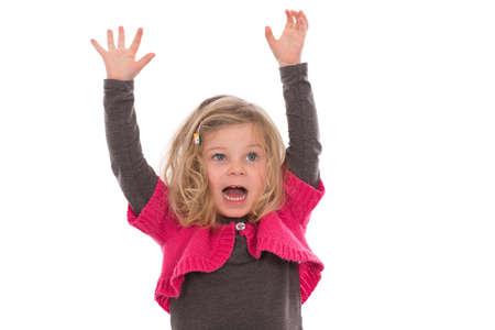 exultation: little girl is jubilantly Stock Photo