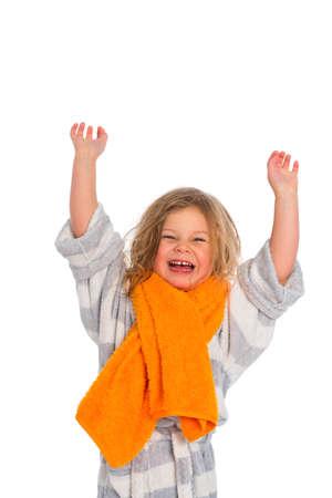 bath robe: little girl in bath robe