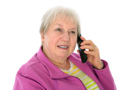 female senior is calling photo