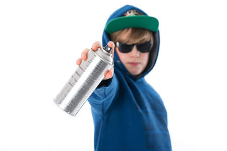 aerosol can: cool boy with aerosol can