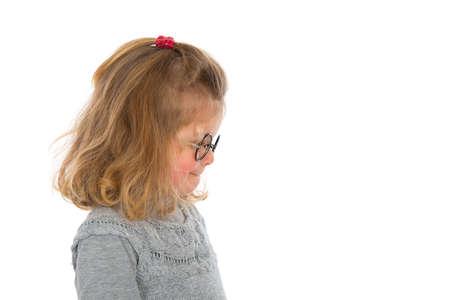 reflektion: little girl looking sideward Stock Photo