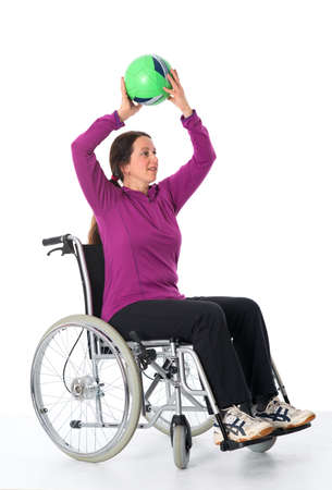 disabled sports: disabled woman is doing sports