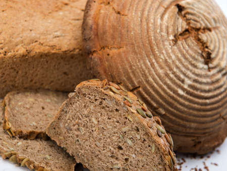 commensurate: German bread on white ground Stock Photo