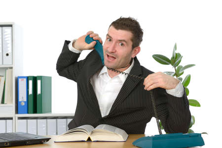 businessman has stress in the office photo