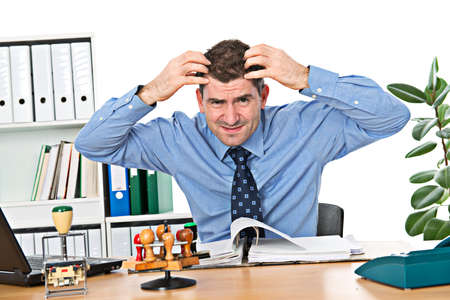 over worked: businesman is over-worked